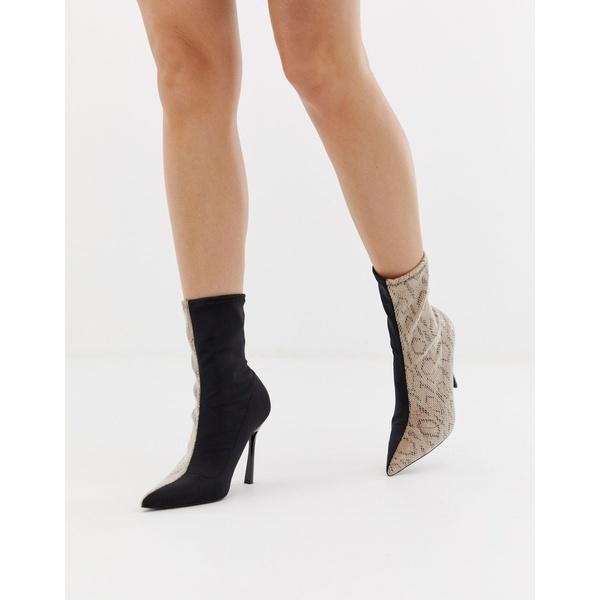 エイソス レディース ブーツ&レインブーツ シューズ ASOS DESIGN Esme pointed heeled boots in snake Black/snake
