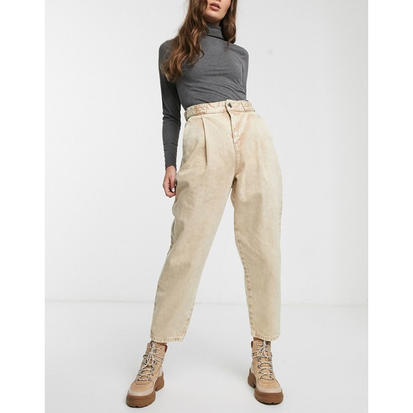 エイソス レディース デニムパンツ ボトムス ASOS DESIGN Tapered boyfriend jeans with D-ring waist detail with curved seams in washed lemon Yellow