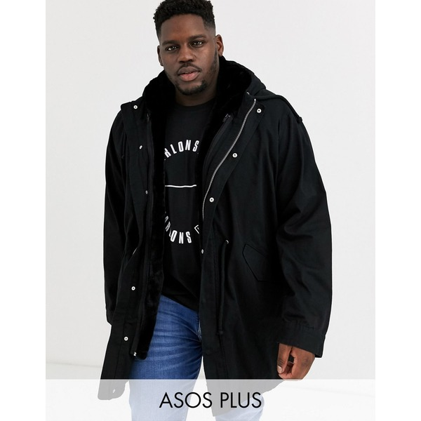 エイソス メンズ ジャケット&ブルゾン アウター ASOS DESIGN Plus parka jacket in black with detachable faux fur liner Black