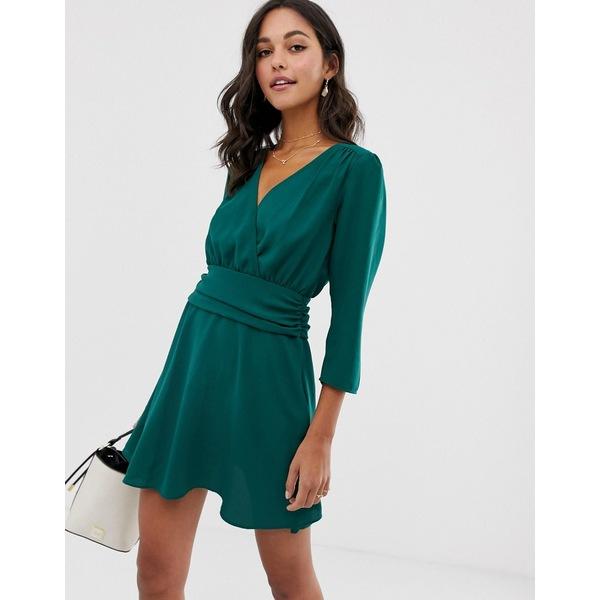 エイソス レディース ワンピース トップス ASOS DESIGN wrap mini dress with ruched skirt Green