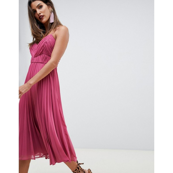 エイソス レディース ワンピース トップス ASOS DESIGN cami midi dress with ruched bodice Raspberry
