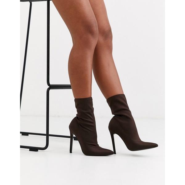エイソス レディース ブーツ&レインブーツ シューズ ASOS DESIGN Esmerelda high heeled sock boots in brown Brown