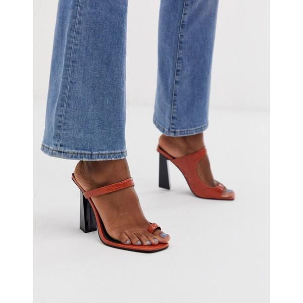 エイソス レディース サンダル シューズ ASOS DESIGN Hydrate toe loop barely there heeled sandals Tan croc
