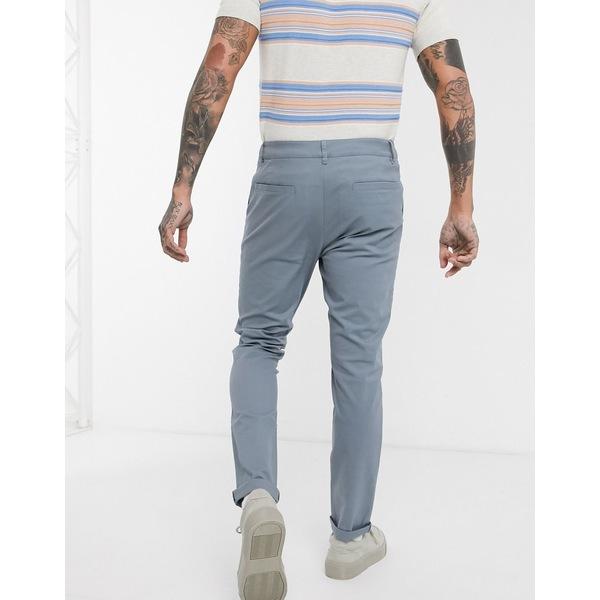 エイソス メンズ カジュアルパンツ ボトムス ASOS DESIGN 2 pack skinny chinos in washed blue & warm gray save Lead/warm gray