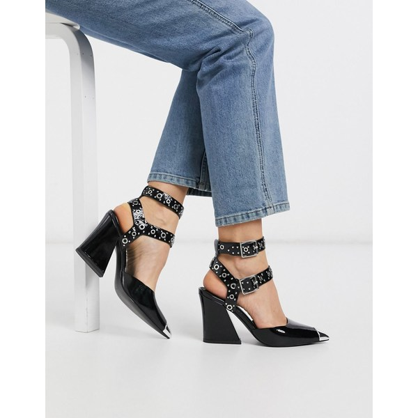 エイソス レディース ヒール シューズ ASOS DESIGN Showtime western mid-heels in black patent Black