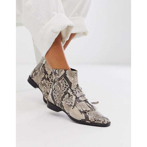 エイソス レディース ブーツ&レインブーツ シューズ ASOS DESIGN Argentina flat leather loafer boots in snake Snake leather