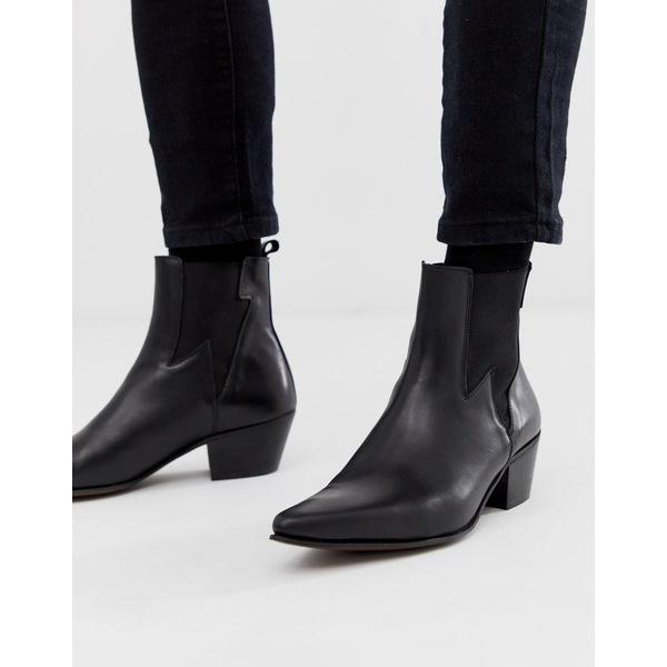 エイソス メンズ ブーツ&レインブーツ シューズ ASOS DESIGN stacked heel western chelsea boots in black leather with lightning detail Black