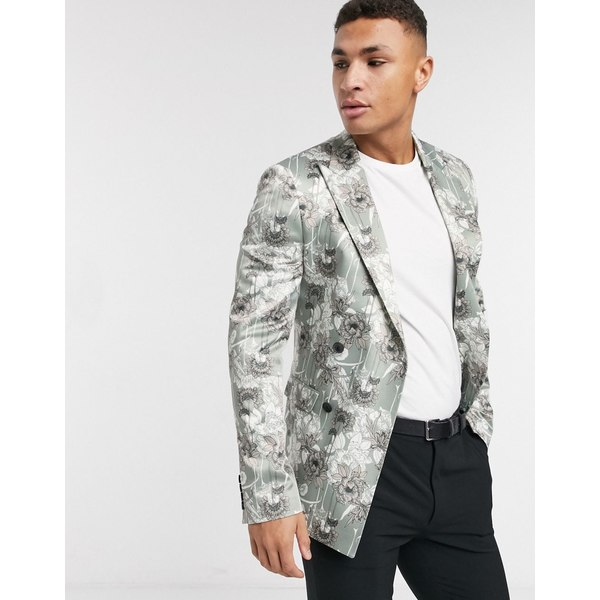 エイソス メンズ ジャケット&ブルゾン アウター ASOS DESIGN super skinny double breasted blazer with light floral print Cream