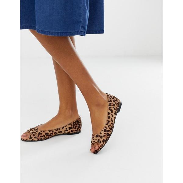 エイソス レディース サンダル シューズ ASOS DESIGN Leadership peeptoe ballet flats in leopard Leopard