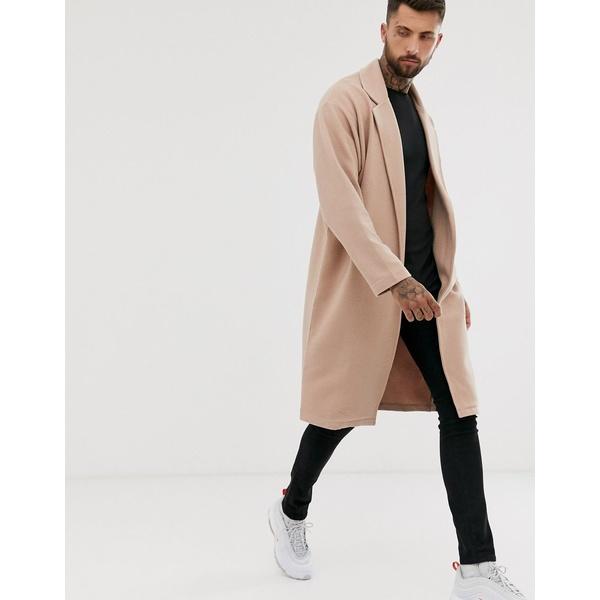 エイソス メンズ ジャケット&ブルゾン アウター ASOS DESIGN oversized jersey duster jacket in beige ribbed fabric Nougat