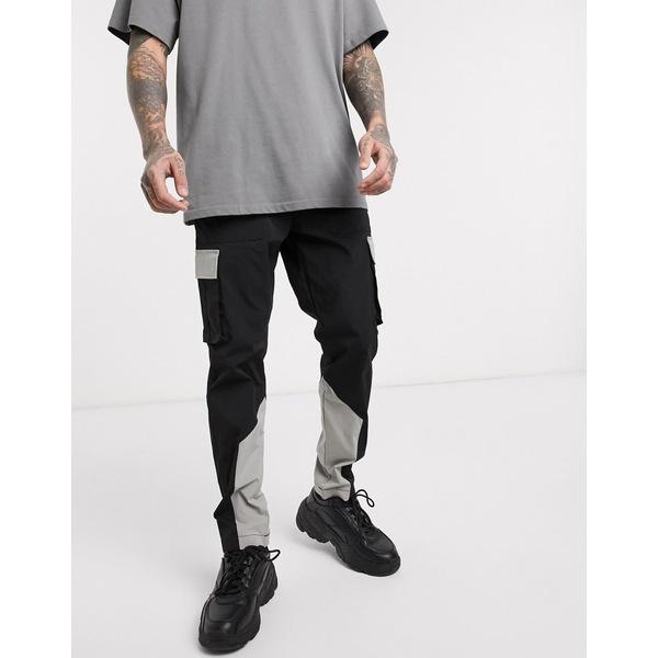 ジャック アンド ジョーンズ メンズ カジュアルパンツ ボトムス Jack & Jones Core nylon color block cargo pants in black Black
