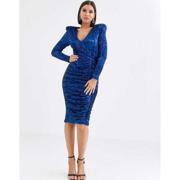 ラビッシュアリス レディース ワンピース トップス Lavish Alice sequin midi dress in cobalt Cobalt