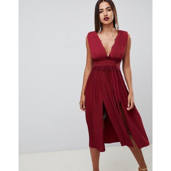 エイソス レディース ワンピース トップス ASOS DESIGN premium lace insert pleated midi dress Oxblood