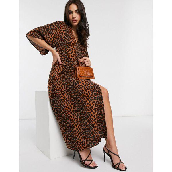リクオリッシュ レディース ワンピース トップス Liquorish midi dress in leapord print Brown leopard