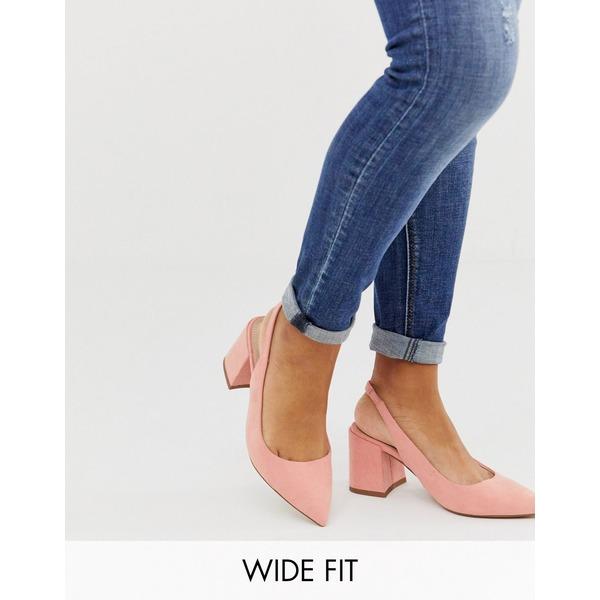 エイソス レディース ヒール シューズ ASOS DESIGN Wide Fit Samson slingback mid heels in peach Peach