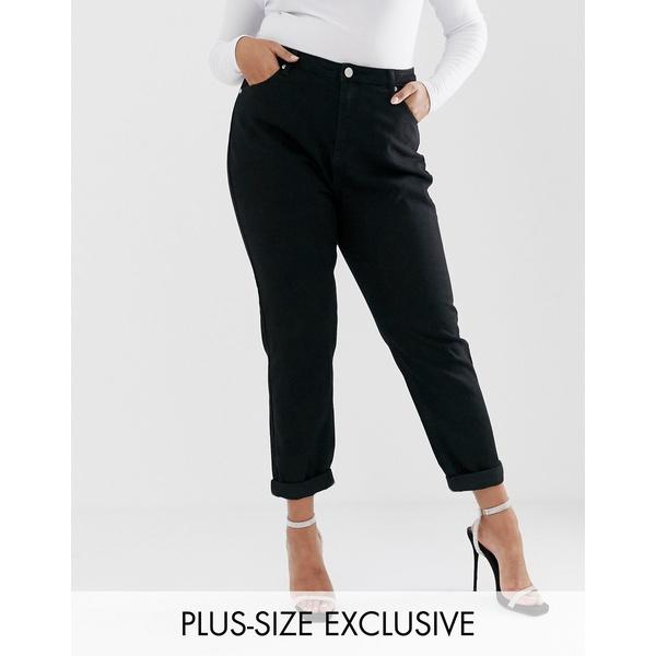 ブーフー レディース デニムパンツ ボトムス Boohoo Plus exclusive high waist mom jeans in black Black