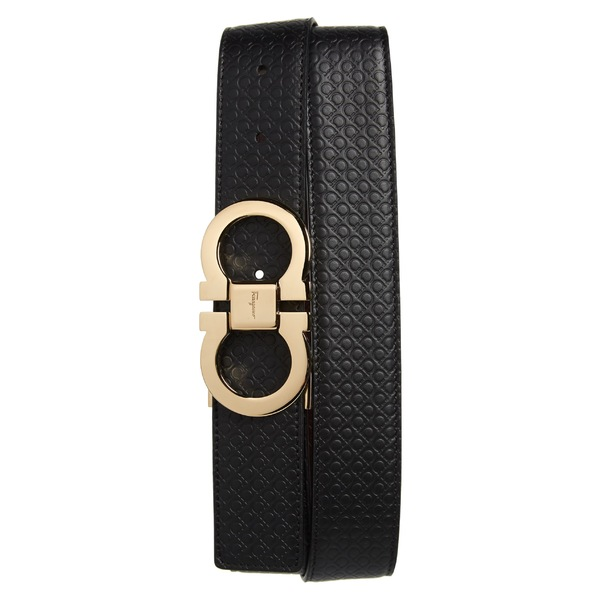 サルヴァトーレ フェラガモ メンズ ベルト アクセサリー Salvatore Ferragamo Gancini Embossed Reversible Leather Belt Black/ Wine