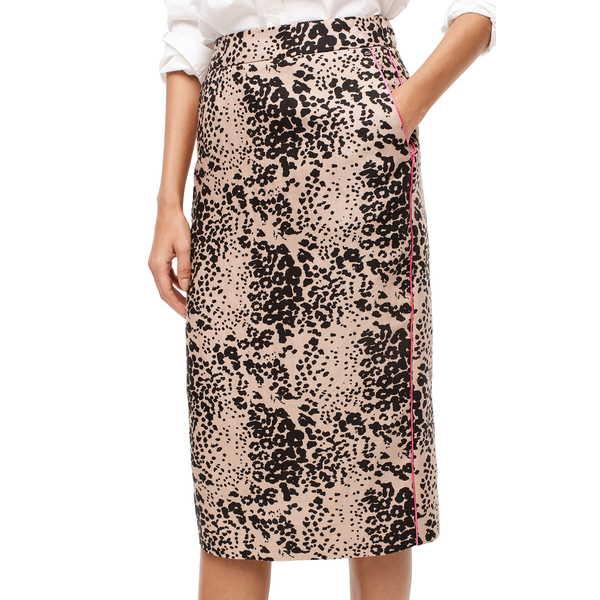 ジェイクルー レディース スカート ボトムス Leopard Print Pencil Skirt Ashen Black