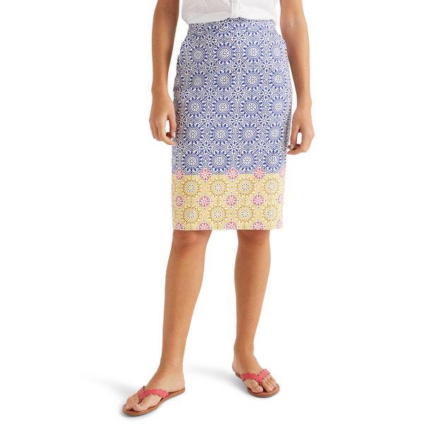 ボーデン レディース スカート ボトムス Gabriella Stretch Cotton Pencil Skirt Blue Sun Tile
