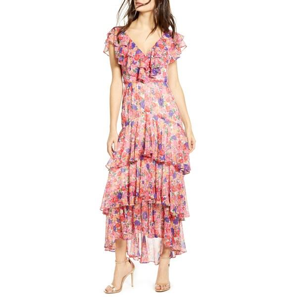 ワイフ レディース ワンピース トップス Chelsea Tiered Ruffle Maxi Dress Rainbow Carnations