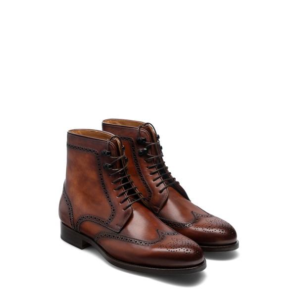 マグナーニ メンズ ブーツ&レインブーツ シューズ Baena Wingtip Boot Cognac