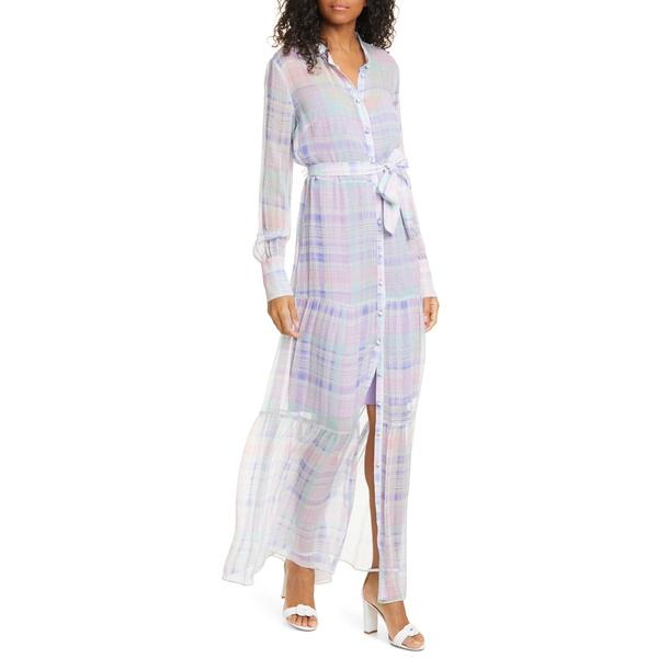 ヴェロニカ ベアード レディース ワンピース トップス Evangeline Plaid Long Sleeve Silk Maxi Dress Lilac Multi