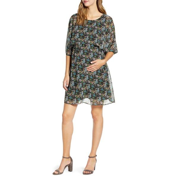 マターナルアメリカ レディース ワンピース トップス Ruffle Overlay Maternity/Nursing Dress Tea Garden