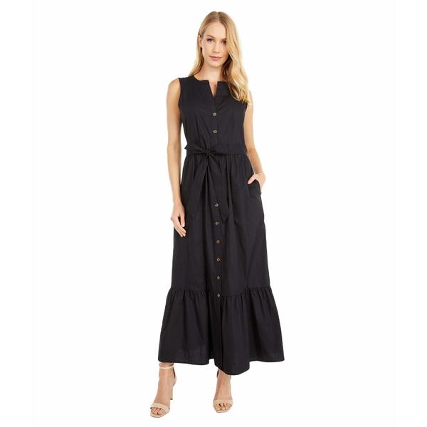 カルバンクライン レディース ワンピース トップス Button Front Cotton Maxi Dress with Belt Black