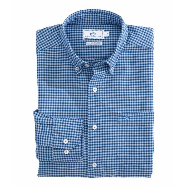 サウザーンタイド メンズ シャツ トップス Channel Marker Gingham Sport Shirt Hurricane Blue