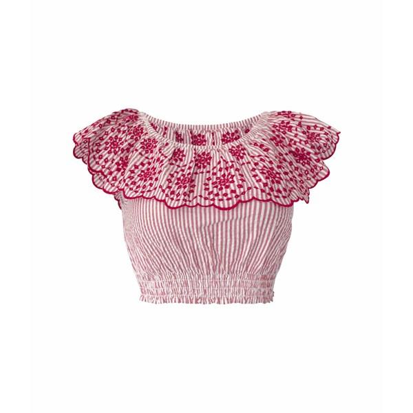 BCBジェネレーション レディース シャツ トップス Embroidered Ruffle Top - TSS1278468 Cherry