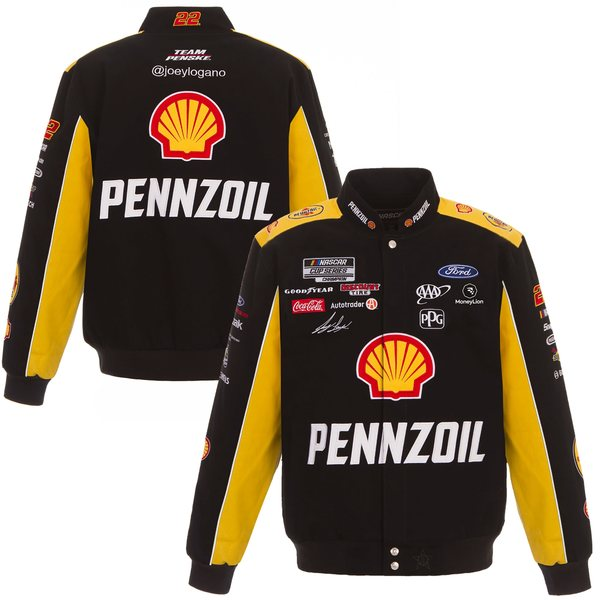 ジェイエイチデザイン メンズ ジャケット&ブルゾン アウター Joey Logano JH Design Shell/Pennzoil 2020 FullSnap Twill Uniform Jacket Black/Yellow