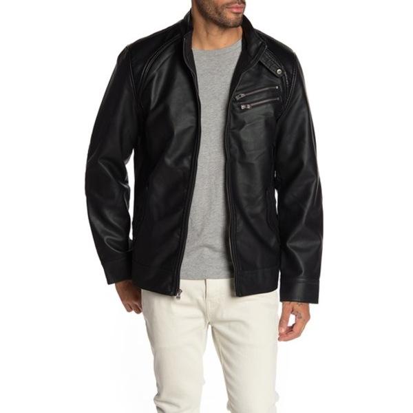 エックスレイ メンズ ジャケット&ブルゾン アウター Faux Leather Jacket BLACK