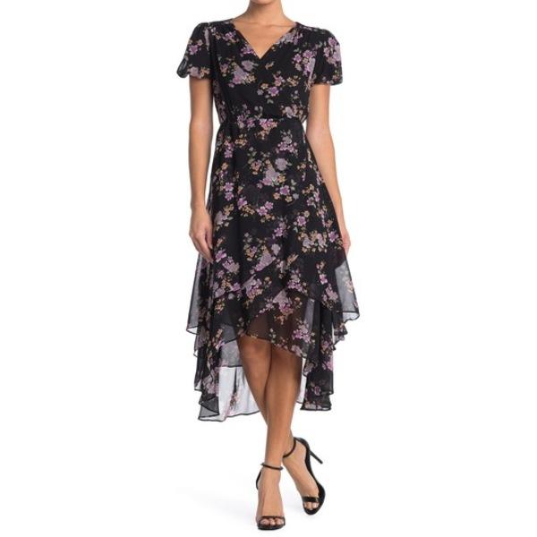 ベッツィジョンソン レディース ワンピース トップス Floral Faux Wrap Midi Dress (Regular & Plus Size) BLACK MULTI