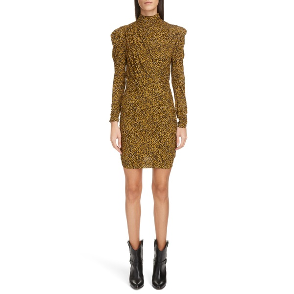 イザベル マラン レディース ワンピース トップス Isabel Marant Animal Print Ruched Puff Shoulder Long Sleeve Minidress Fauve