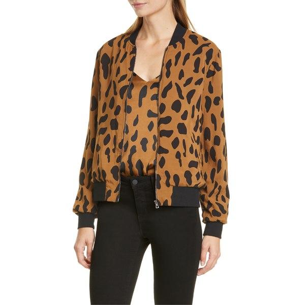 ラジャンス レディース ジャケット&ブルゾン アウター L'AGENCE Ollie Cheetah Print Silk Bomber Jacket Camel/ Black Animal