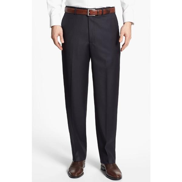 サントレリー メンズ カジュアルパンツ ボトムス Santorelli Luxury Flat Front Wool Dress Pants Navy