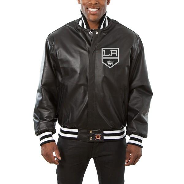 ジェイエイチデザイン メンズ ジャケット&ブルゾン アウター Los Angeles Kings JH Design Big & Tall AllLeather Jacket with Front Leather Logo Black