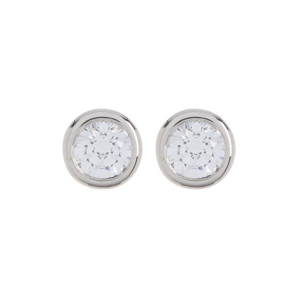ブルーニング レディース アクセサリー ピアス 流行 イヤリング SILVER 全商品無料サイズ交換 Bezel Earrings 3.0mm Sterling Stud CZ 激安格安割引情報満載 Silver