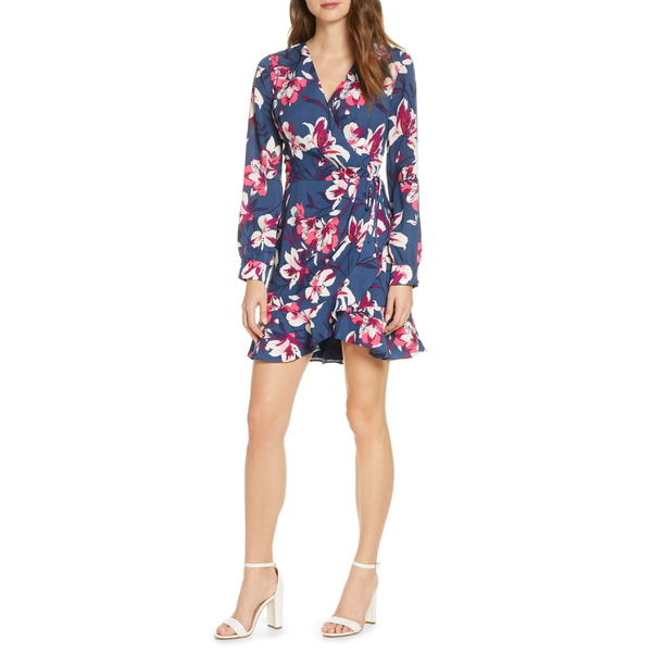 アドレイン ラエ レディース ワンピース トップス Adelyn Rae Shayne Long Sleeve Floral Faux Wrap Dress Blue Multi