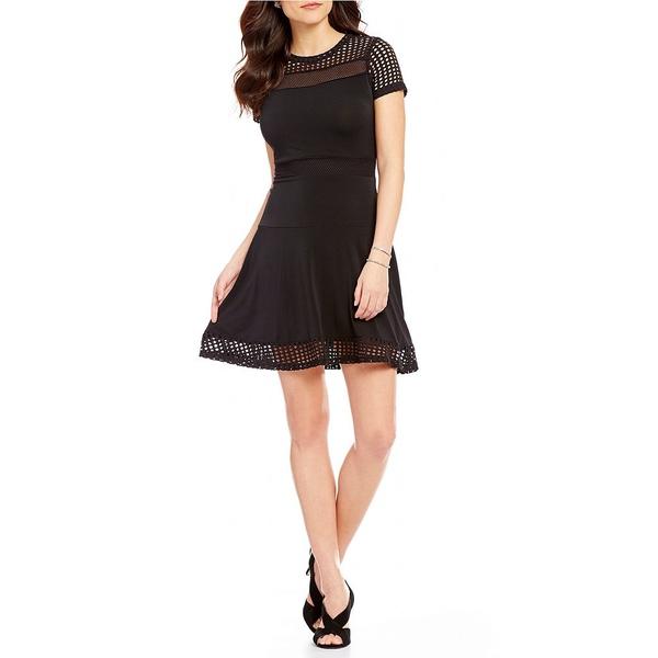 マイケルコース レディース ワンピース トップス Mesh and Knit Combo Short Sleeve Fit-And-Flare Dress Black