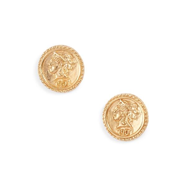 スターリングフォーエバー レディース ピアス&イヤリング アクセサリー Crown Jewel Coin Stud Earrings Gold