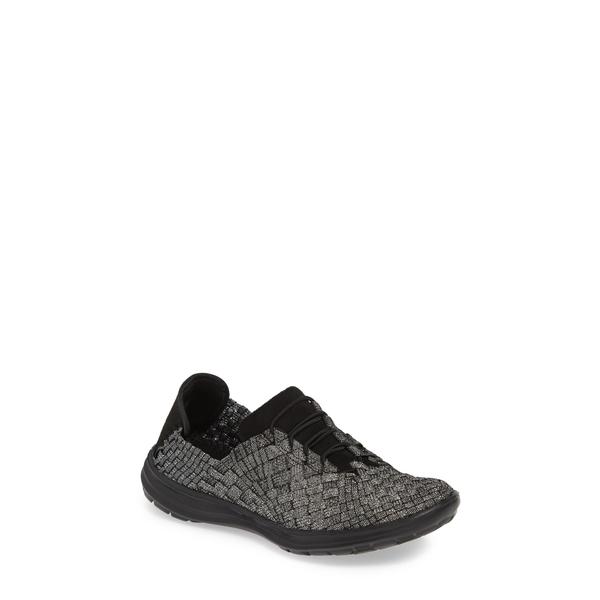 バーニーメブ レディース スニーカー シューズ 'Victoria' Woven Elastic Sneaker Black Shimmer Fabric