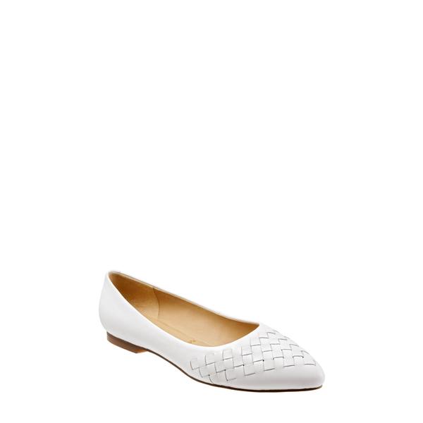 トロッターズ レディース サンダル シューズ Estee Pointed Toe Flat White Leather