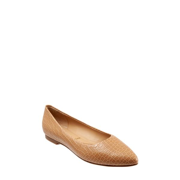 トロッターズ レディース サンダル シューズ Estee Pointed Toe Flat Nude Crocodile Leather