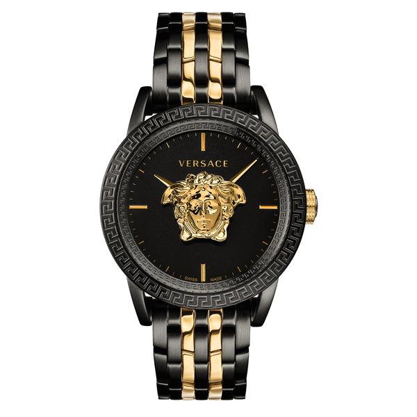 ヴェルサーチ メンズ ブレスレット・バングル・アンクレット アクセサリー Palazzo Empire Bracelet Watch, 45mm Black/ Gold