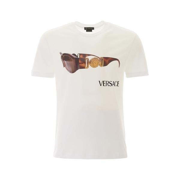 【超ポイントバック祭】 ヴェルサーチ メンズ Tシャツ トップス Versace Medusa Sunglasses Logo Printed T-Shirt -, SHOE MANIACS-靴&ブーツ通販 b54b540e