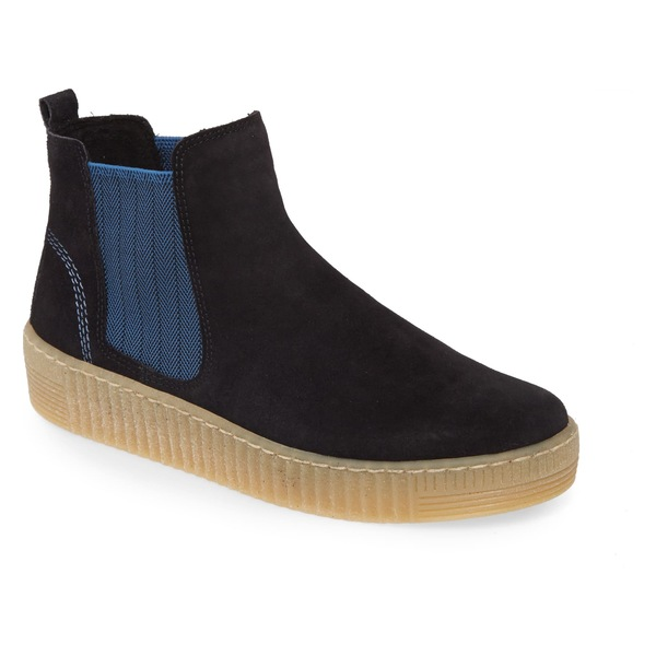 ガボール レディース スニーカー シューズ Gabor Chelsea Sneaker (Women) Blue Nubuck Leather