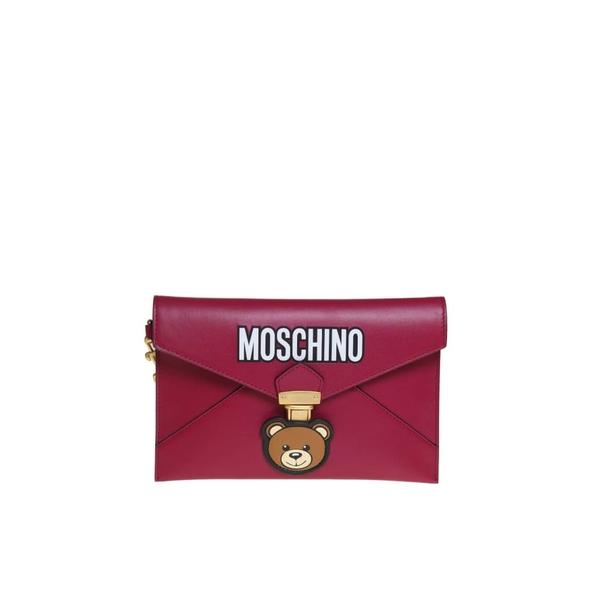 モスキーノ レディース クラッチバッグ バッグ Moschino Clutch Teddy Pocket In Fuchsia Color Leather -