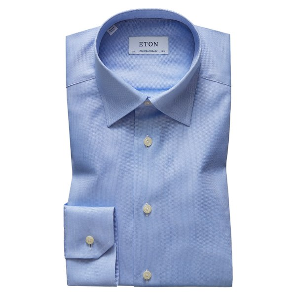 エトン メンズ シャツ トップス Eton Contemporary Fit Solid Dress Shirt Blue