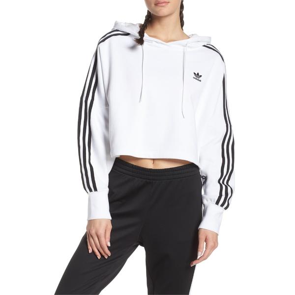 アディダスオリジナルス レディース パーカー・スウェットシャツ アウター adidas Originals Crop Hoodie White